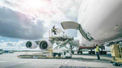 An aircraft being loaded