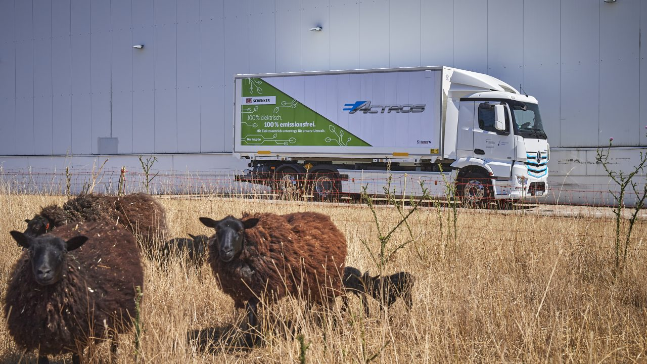 E-mobility truck drives in the countryside