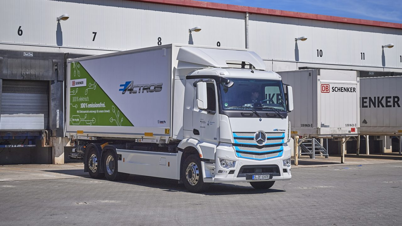 E-mobility truck parked at a warehouse