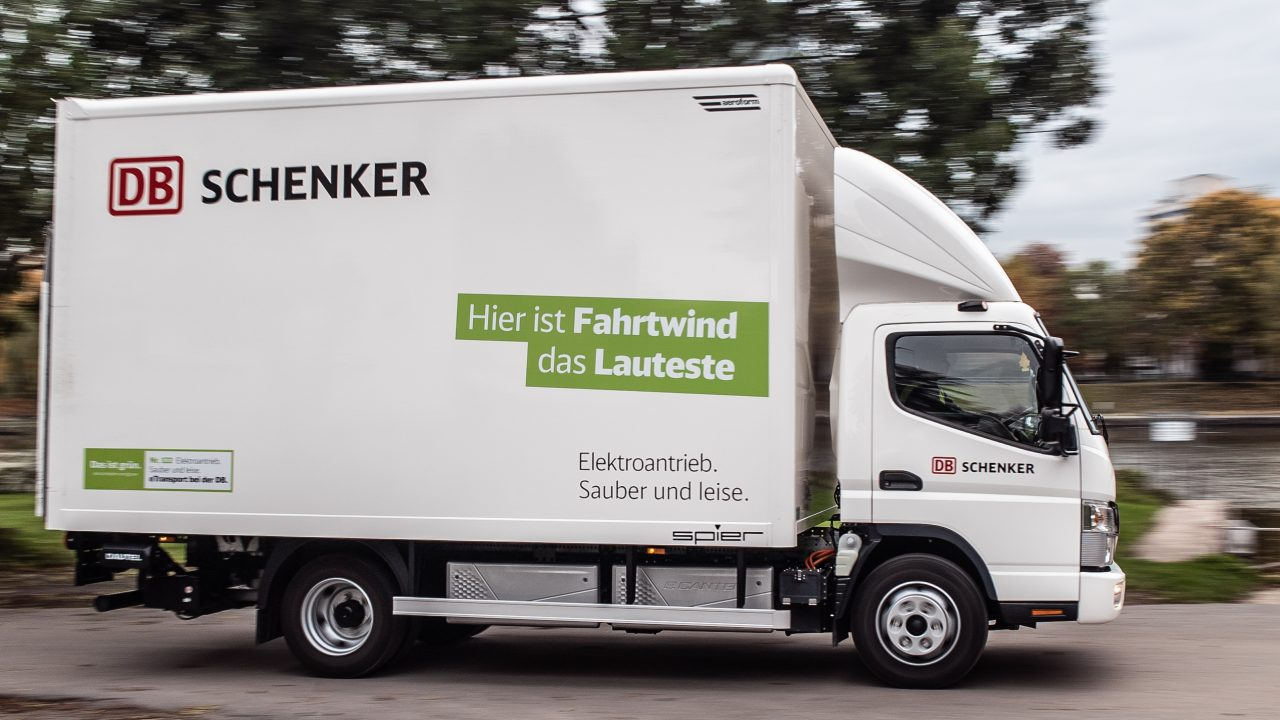 E-mobility truck drives through the city