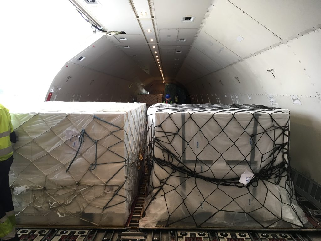 Cold chain logistics for perishables - boxes inside an aircraft