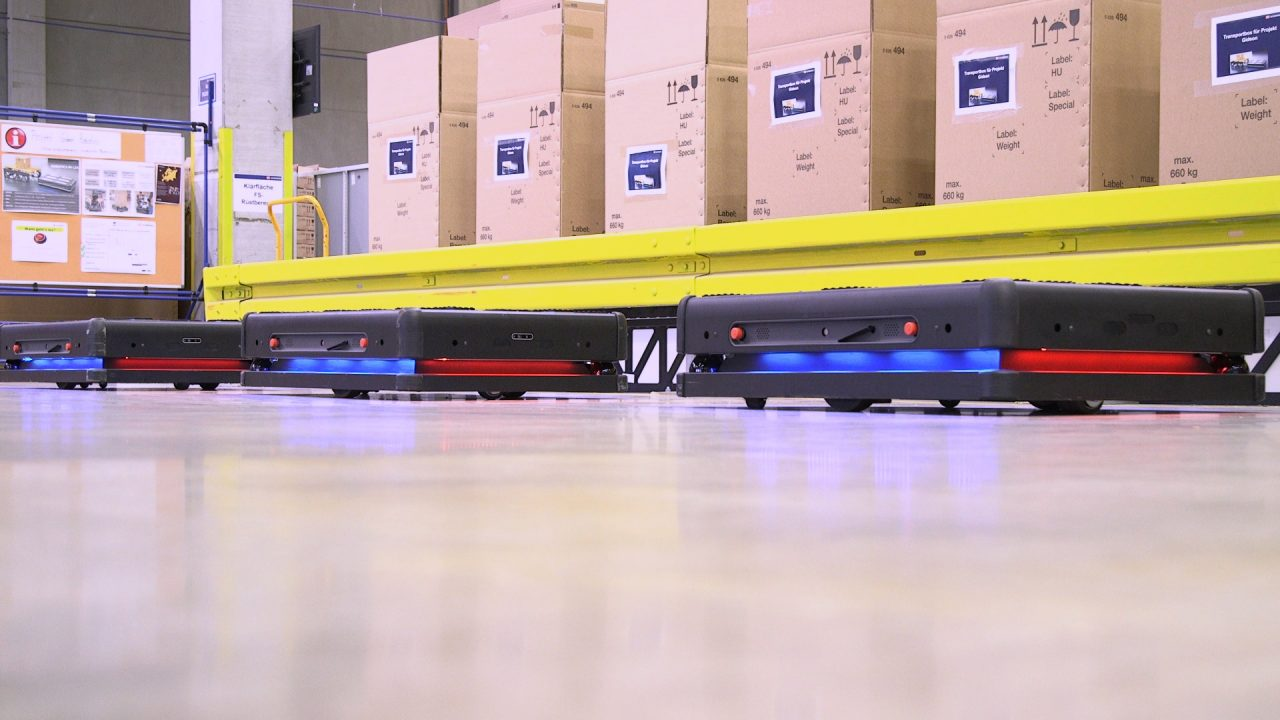 Automated Guided Vehicle in operation in a warehouse in Leipzig, Germany